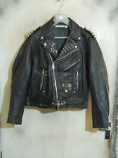 VINTAGE 80'S Punk Studded Distressed Leather Brando Motorcycle Jacket Size M