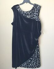 NWT R&M RICHARDS Black Taupe Velvet Sheath Dress Size 22 W