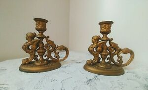 Vtg Gold Tone Metal Candle Stick Holders Victorian Goddess Lady & Court Jester