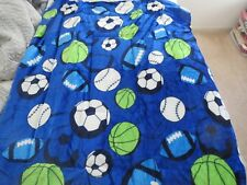 "New! 2-ply Sherpa Baby blanket toddler Boys 40""x50"" Plush Sports Balls Blue"