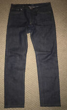 New Mens APC Raw Dark Wash Button Fly Selvedge Slim Straight Denim Jeans 34 x 33