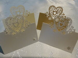 ❤ 16 COLOURS ❤ WEDDING PARTY PEARLESCENT LOVE HEARTS PLACE CARDS TABLE NAME