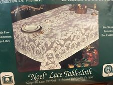 New White Cotton Lace 70x108 Oblong Christmas Noel & Poinsettia Tablecloth