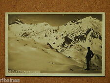 R&L Postcard: Lone Skier on Mountain Skiing Freiburgerbutte, Switzerland/Germany
