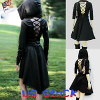 Women Long Sleeve Dress Goth Hooded Tie Up A-Line Short Skirt Gothic Casual US