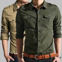 Men's Autumn Casual Long Sleeve Cargo Shirts Military Dress Shirt Double Pockets