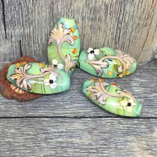 10pcs handmade Lampwork glass green flower beads 15*30mm
