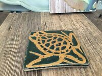 Sea Turtle tile coaster pottery Incised Design Decor Green Signed Turtle Lovers