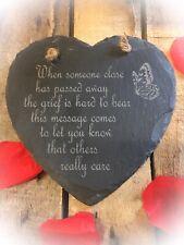 Laser Engraved Memorial Heart Shaped Slate Plaque Memorial Bereavement Gift