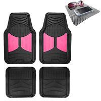 Universal Fitment Floor Mats for Auto Car SUV Van Rubber Pink Black w/ Dash Mat
