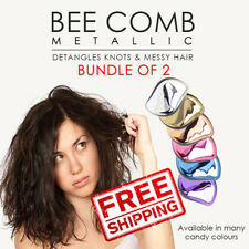 SOL Bundle of 2. Bee Anti-tangle Metallic Comb Detangling Brush. All hair types