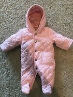 LEVERET Toddler Pink Snow Suit One Piece, Button Closure, Fleece Lined, Size 3M