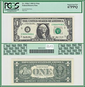 1993 Web $1 Philadelphia Fed Reserve Note PCGS 67 PPQ Superb Gem Unc Dollar FRN