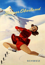 Berner Oberland Schweiz  Skate Ski Mountain Poster Print