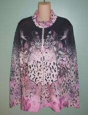 Zenergy Chicos Knit Jacket Sweater 3 Pink Black Animal Print Zipper Rivits New