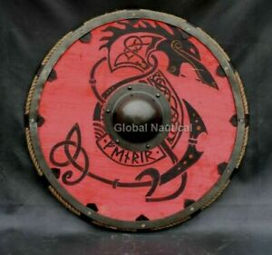 "Wolf Viking Shield Heavy Rope Battle Ready Shield Red/Black Viking Shield 24"""