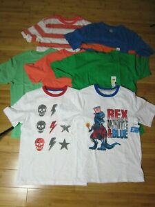 new HUGE LOT of 7 t-shirt BOY L 10-12 solid colors graphic