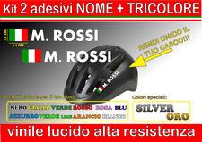 kit 2 adesivi CASCO NOME TRICOLORE, mtb, bici, corsa, casco moto, downhill