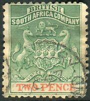 RHODESIA-1895 2d Green & Red Sg 27 GOOD USED V14342