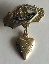 Genuine Vintage WWII Enamel Jewish Sweetheart Pin - Patriotic Home Front Jewelry