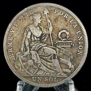 1924 PERU UN SOL Toned (KM 218.1) Silver Coin.
