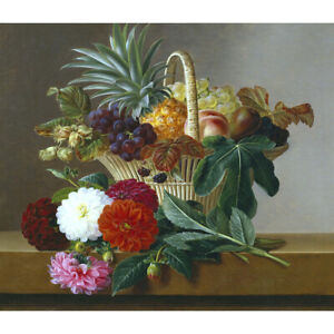 Basket of Fruit with Dahlias - J L Jensen Print