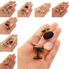 1 Pair Round Clear Glass Cameo Bezel Brass Cufflinks DIY Jewelry Accessories