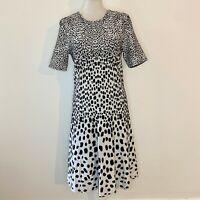 Etcetera Size 6 Dress Animal Print Black White Short Sleeves Back Zip Sheath