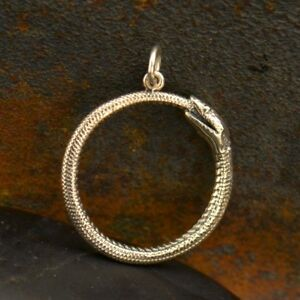 Sterling Silver Ouroboros Pendant Snake Charm Serpent Reptile Goth Necklace 7017