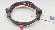 NWT GAP Product (RED) LEATHER BRACELET Black/Red Bead Unisex