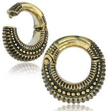 PAIR 2G (6mm) HINGED BRASS EAR WEIGHTS PLUGS TUNNELS STRETCH GAUGE HOOPS