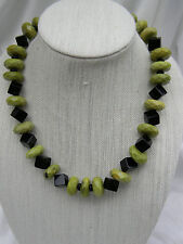 KC Dyed Magnesite and Black Glass Sterling Necklace 22""