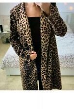 ZARA Faux Suede Leopard Print Long Brown Coat Jacket Size Large