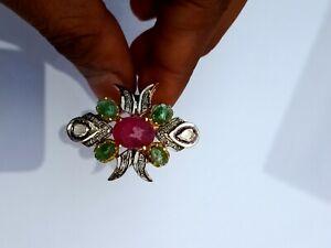 925 Silver Handmade Ring Natural Ruby Emerald Gemstone Pave Polki Diamond Ring