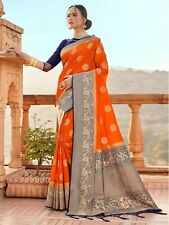 Indian Sari Saree & Blouse Party Wear Orange Woven Banarasi Art Silk -S2139