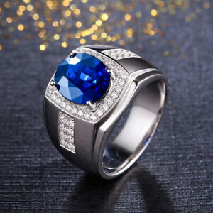 Men's Engagement Wedding Halo Statement Ring 2.49Ct Oval Sapphire 14K White Gold