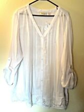 NWT - Avenue - 26 / 28 - Button Front Blouse - Lace Hem - White