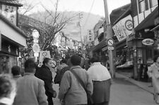 T668 Original 35mm photo NEGATIVE 1950s 60s ? Japan crowded street market stores