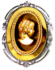 VINTAGE VICTORIAN SILVER GOLD TONE GLASS CAMEO PIN BROOCH