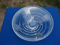 VTG BOHEMIAN Czech CLEAR Cut CRYSTAL Large CENTERPIECE Dish BOWL