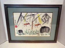 Signed Chinese Ink Brush Painting Lucky Grasshopper Bugs - Gallery Framed