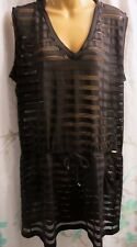 NWT Calvin Klein Misses L/XL Swimsuit Cover-up Black Mesh Tunic Open Knit