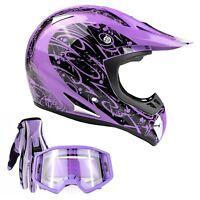 Adult Purple ATV Helmet Combo Purple Gloves Goggles Motocross DOT UTV MX
