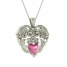 """0.40 Ctw Natural Heart AAA Pink Tourmaline Claddagh 10k Solid Gold 16"""" Necklace"""