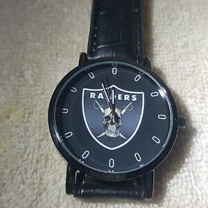 Oakland Raiders NFL Custom Black Leather Band Wrist Watch
