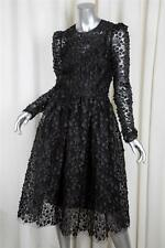DOLCE & GABBANA Womens F12 Black $16K Floral Applique Lace Dress w/ Slip 38/2 XS