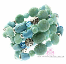 Ladies Chunky Cabo Turquoise Womens Wide Faux Stone Silver Coil Adjust. Bracelet