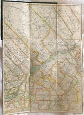 "JOSEPH CHALIFOUR 1915 Map of Montreal Quebec Sheet Linen Backed 33"" x 18"" RARE!"