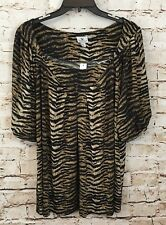 Worthington shirt womens 2X tunic animal empire waist black NEW short slv B4