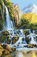 "Landscape With Waterfall Cross Stitch Kit - 15.75"" x 23.5"" - 14 Count (R1194)"